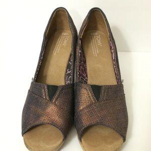 Toms Bronze Peep Toe Cork Wedges